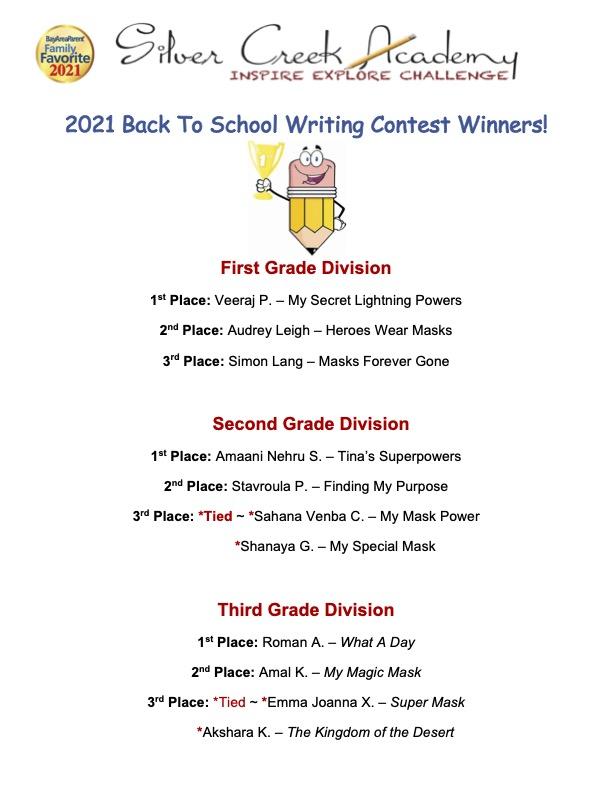 2021 Writing Contest Winners