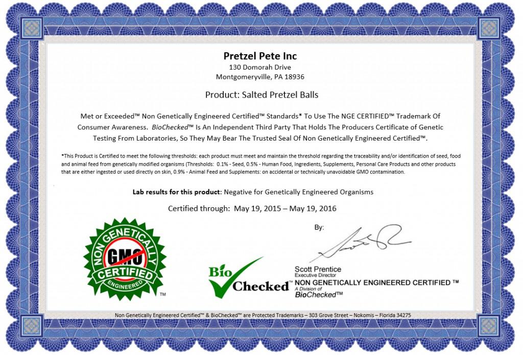 Non GMO - GMO Free Certificate