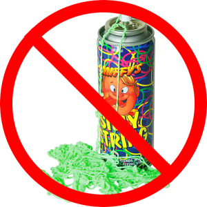 Silly string in the inflatable rental – not a good idea!
