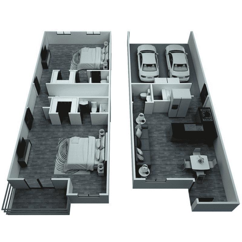 2 Bed, 2.5 Bath Townhome floor plan