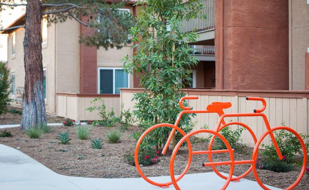 Bike racks shaped like bikers