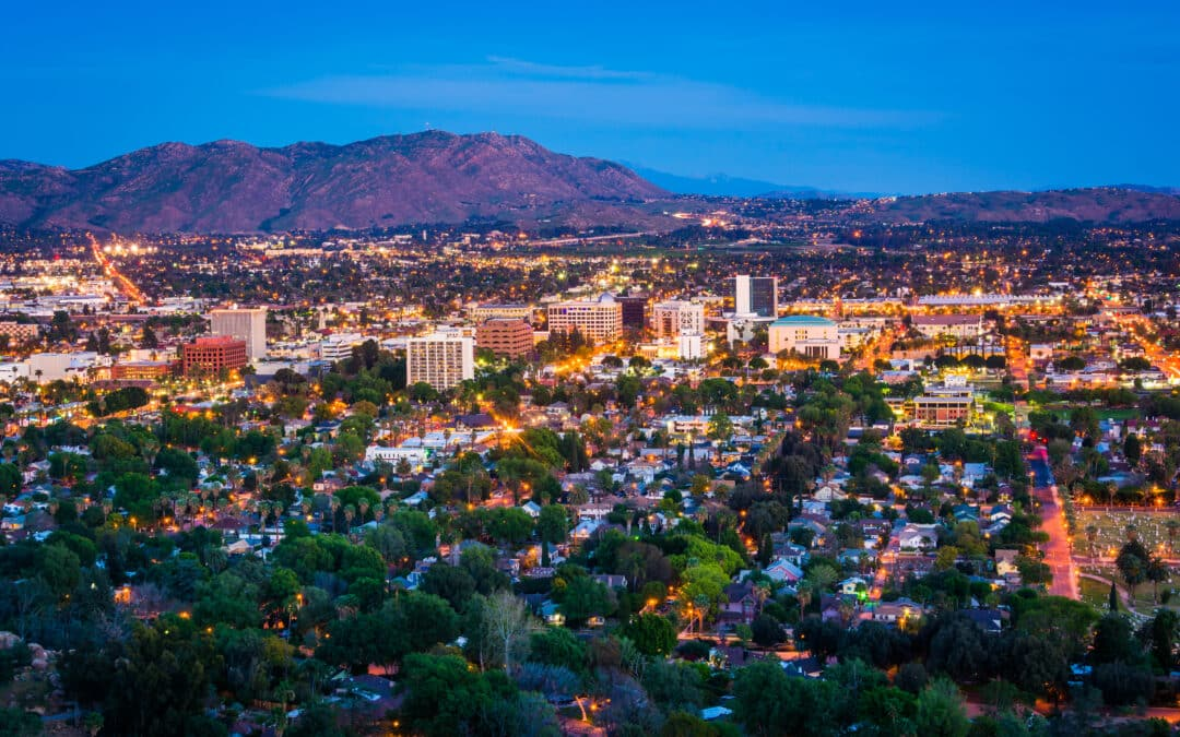 Twilight view of the city of Riverside from mountain Rubidoux