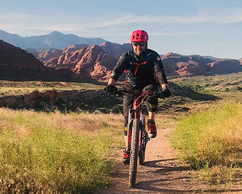 Surreal Brewing Tribe Member Larry mountain biking in California