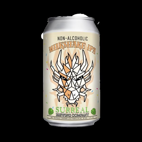 Can of Surreal Brewing Milkshake Dessert IPA non-alcoholic IPA beer