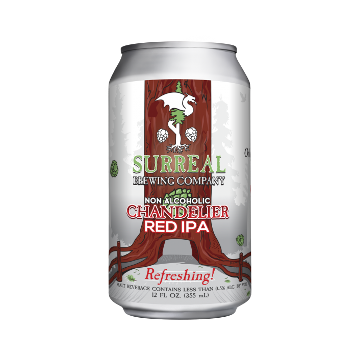 Can of Surreal Brewing Chandelier Red IPA non-alcoholic IPA beer