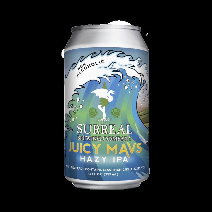 Can of Surreal Brewing Juicy Mavs non-alcoholic IPA beer