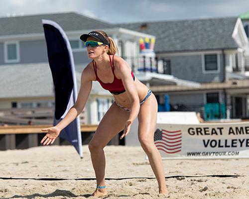 Surreal Brewing Tribe Member Aleksandra playing beach volleyball