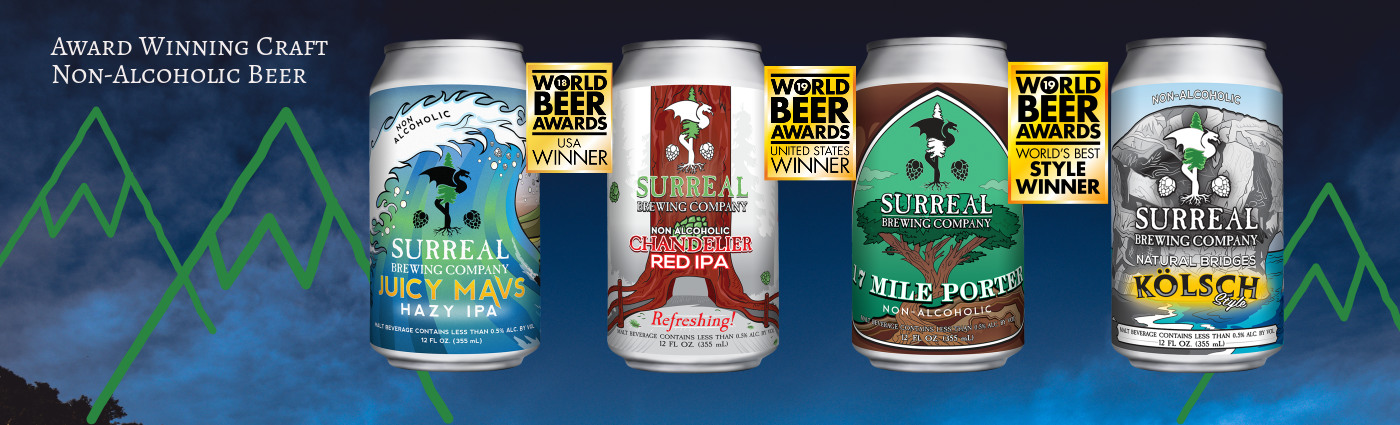 Award Winning Craft Non-Alcoholic Beer Surreal Brewing Banner