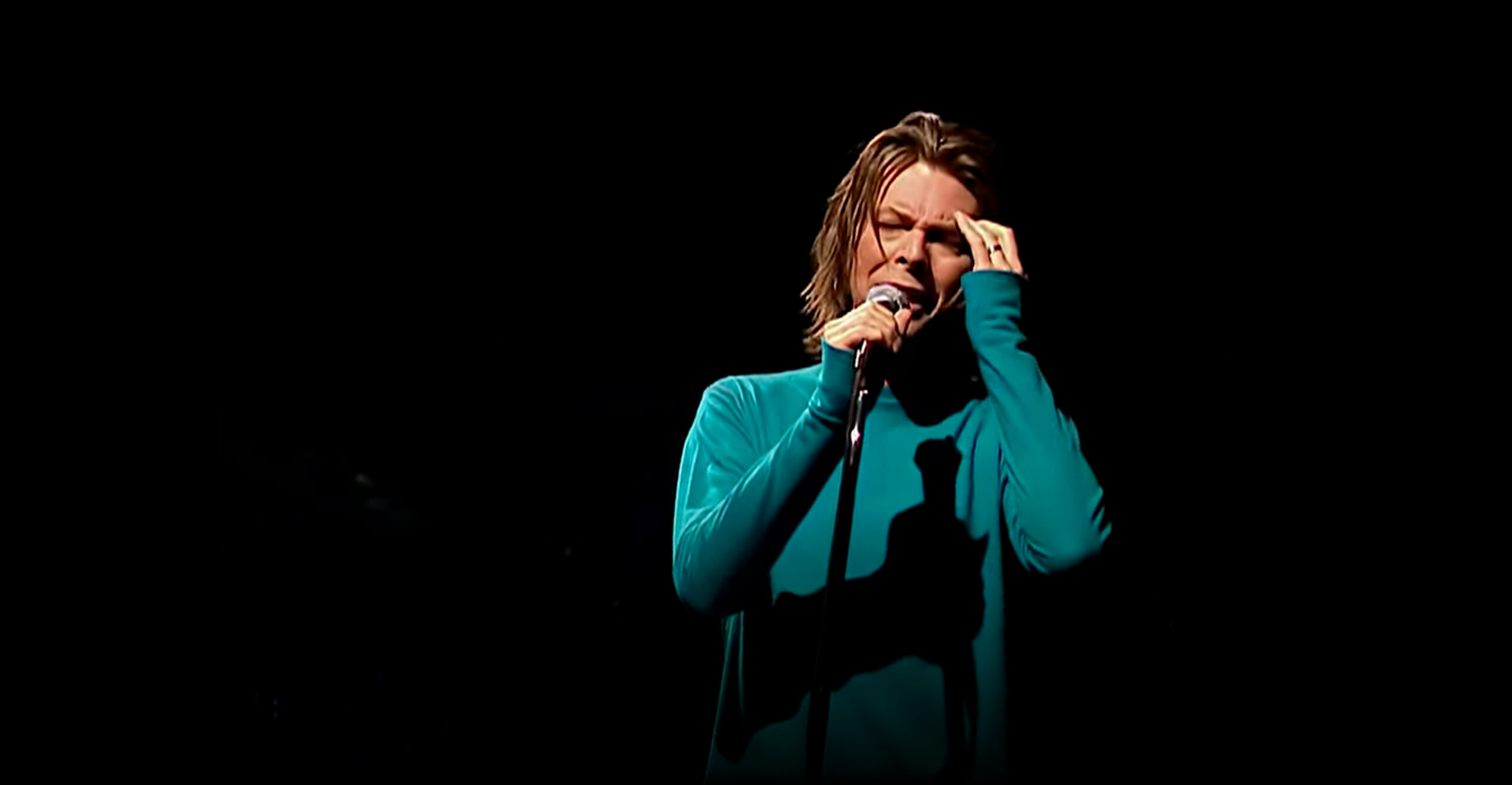 David Bowie with microphone