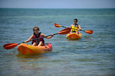 Paddlers in rental kayaks in Marathon Florida Keys