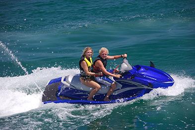 Tourists on rental jet ski in Marathon Florida Keys
