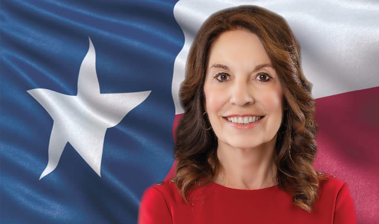Cutright with TX flag wide shot