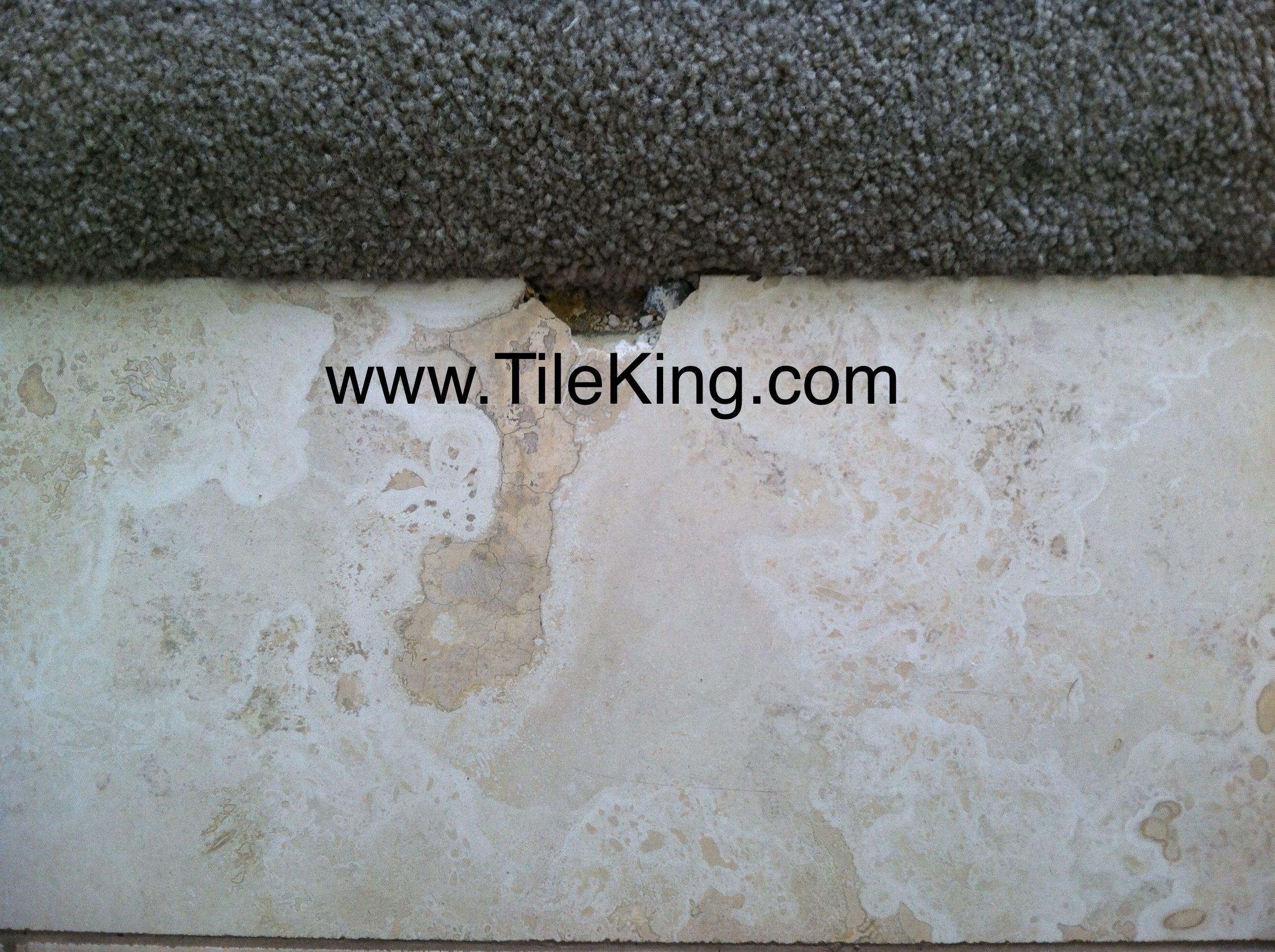 travertine cracked and broken before repairs
