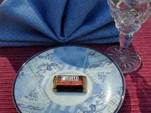 Hershey bar on plate