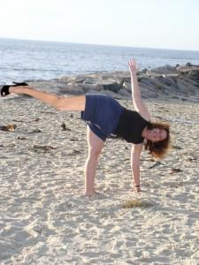Angelina's leg, yoga, ardha chandrasana