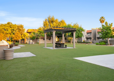 Grassy courtyard in the middle of the community