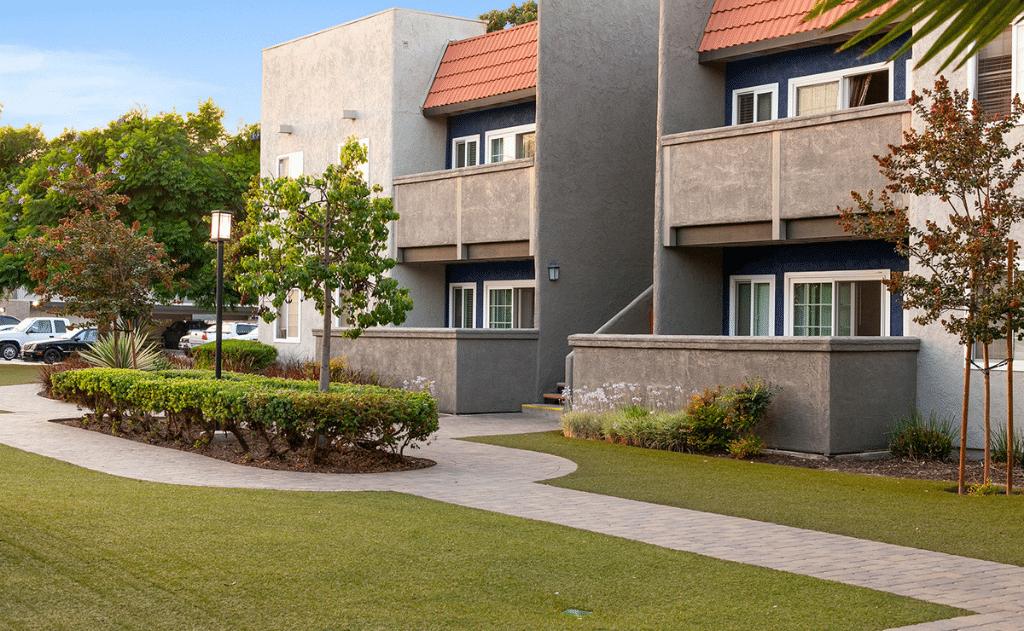 Exterior view of floor patios and second floor balconies