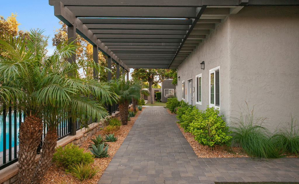 Paved pathway with landscaping next to pool and leasing office