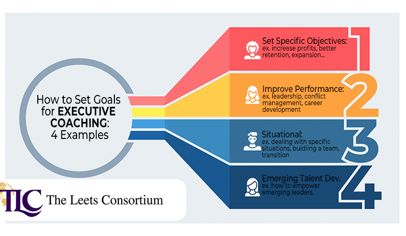 setting goals for the executive coaching process - some examples: set objectives, improve performance, situational, emerving talent development