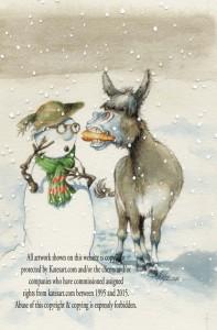 christmas card carrot snowman donkey