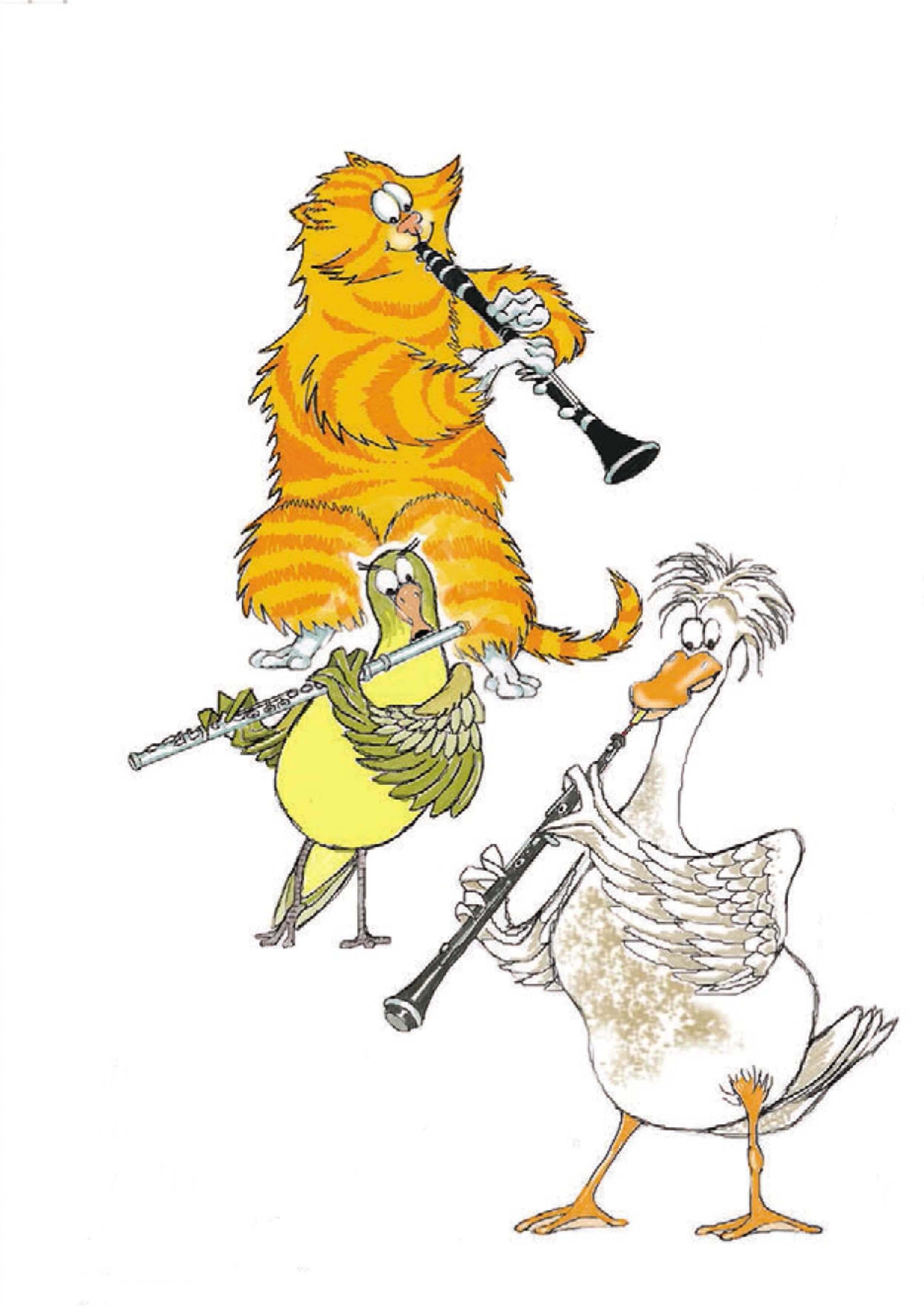 cat clarinet bird plays flute duck plays oboe