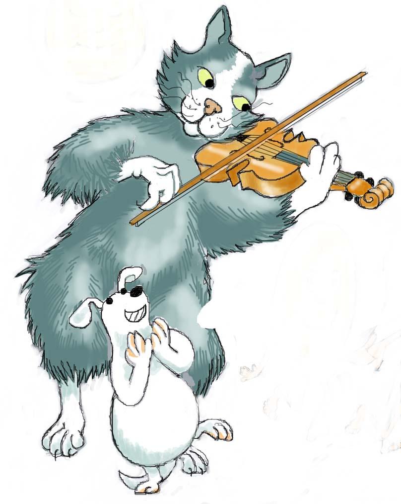 cat plays fiddle little dog laughs