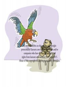 illustration parrot dives at cross teddy bear