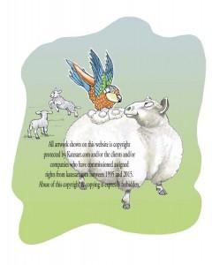 illustration parrot feels soft wool on sheeps back