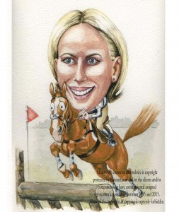 caricature Zara eventing royal competitor