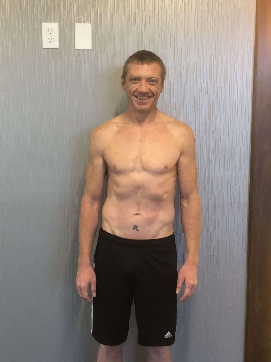 Client Bryan Reeves front after picture six pack abs shredded cut