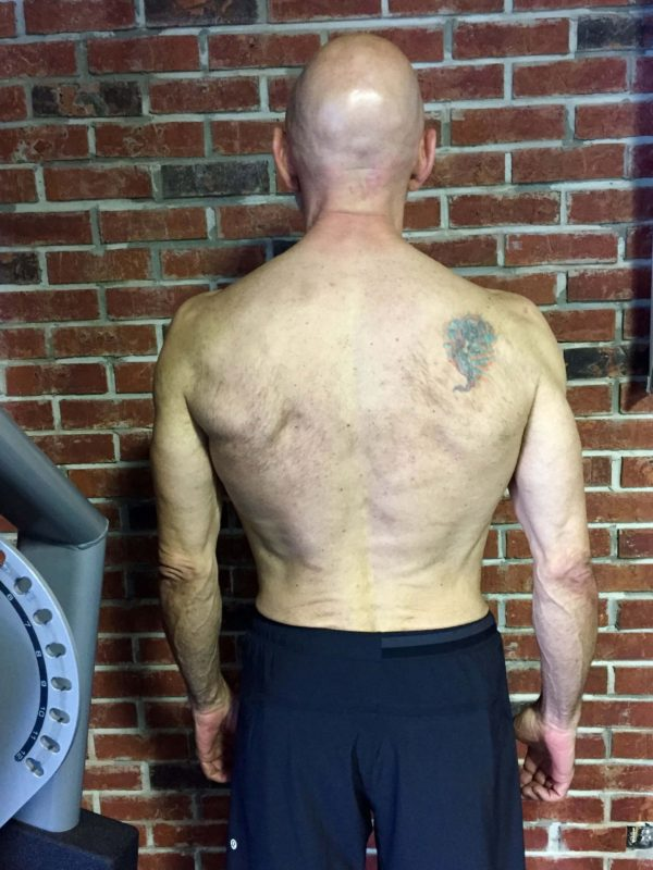 Client Wayne LeBlanc after picture of his shredded back muscles