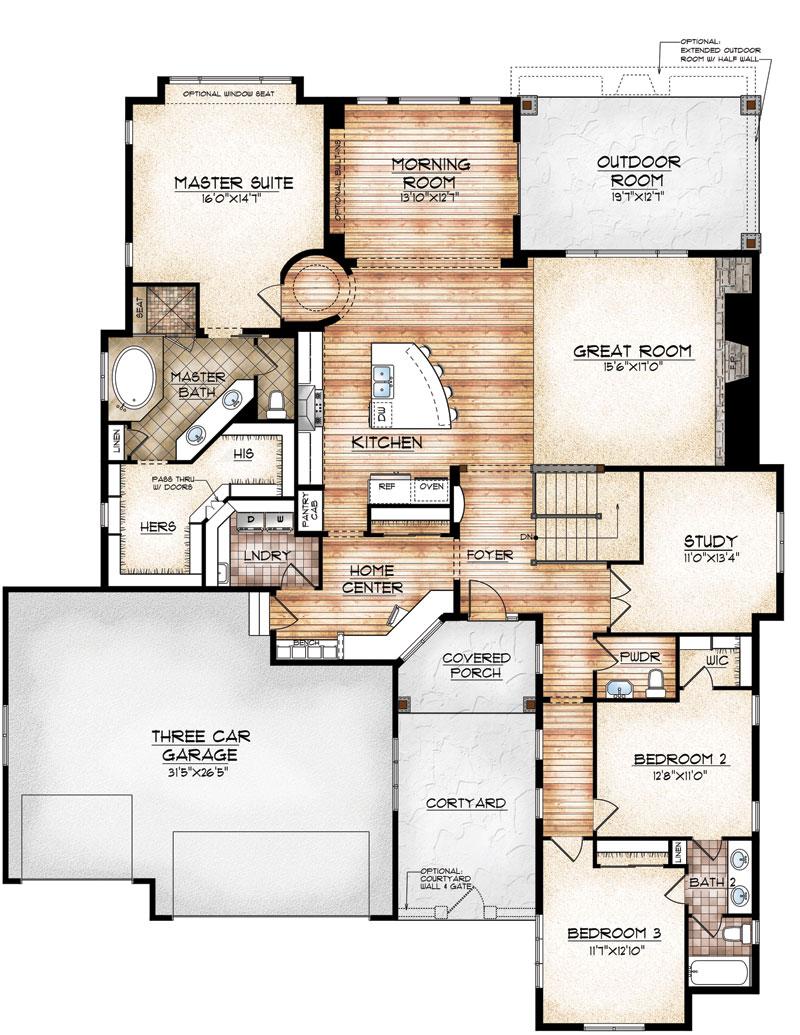 avon model by sopris homes main level plan