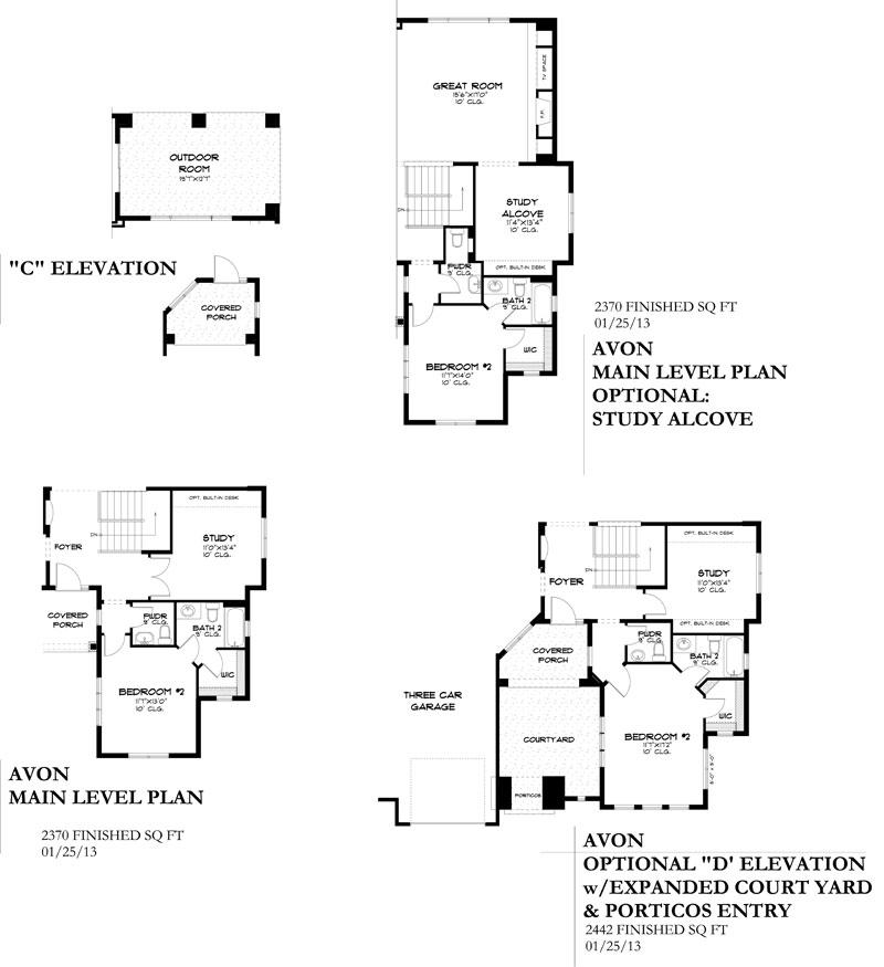 avon model plan by sopris homes options