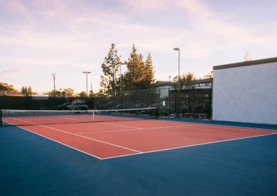 Tennis court at sunset