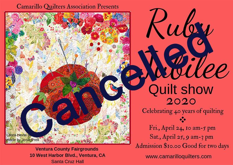 quiltshow postcard cancelled