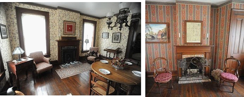first 2 photos of inside jones house, side by side