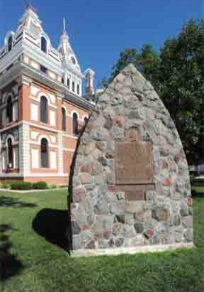 Chief Pontiac monument on courthouse lawn