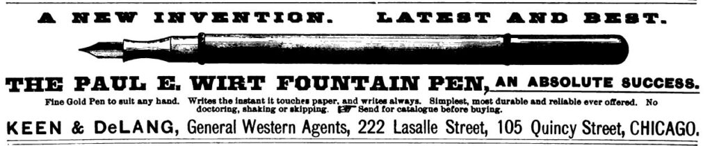 First ad for Paul E. Wirt fountain pens from American Stationer 1886