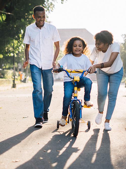 family biking vertical