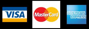Visa Mastercard AMEX accepted
