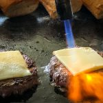 hong kong bbq catering burger with flame