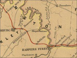 1858 MAP OF SHEPHERDSTOWN-AREA TRANSPORTATION