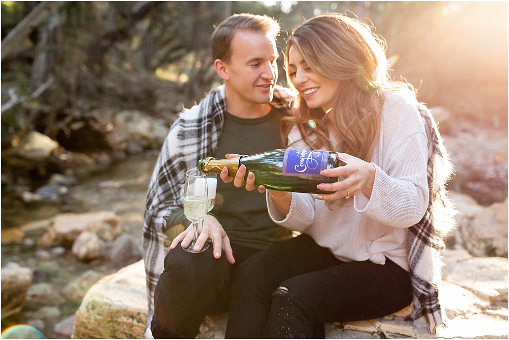 Champagne toast wilson creek engaged couple