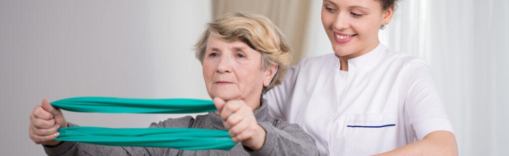 Elderly lady rehabilitation