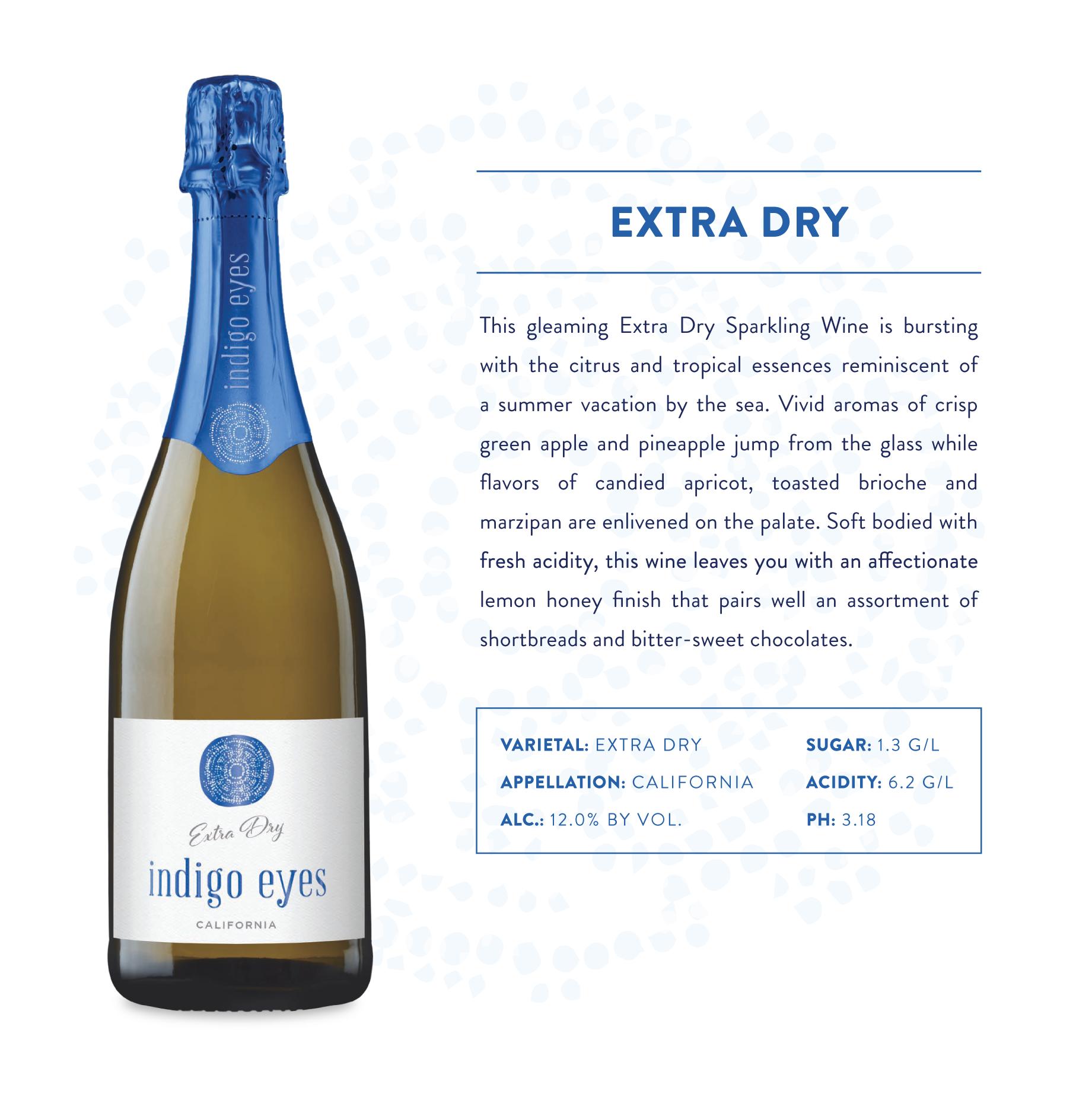 Indigo Eyes Extra Dry Sparkling Wine Product Page