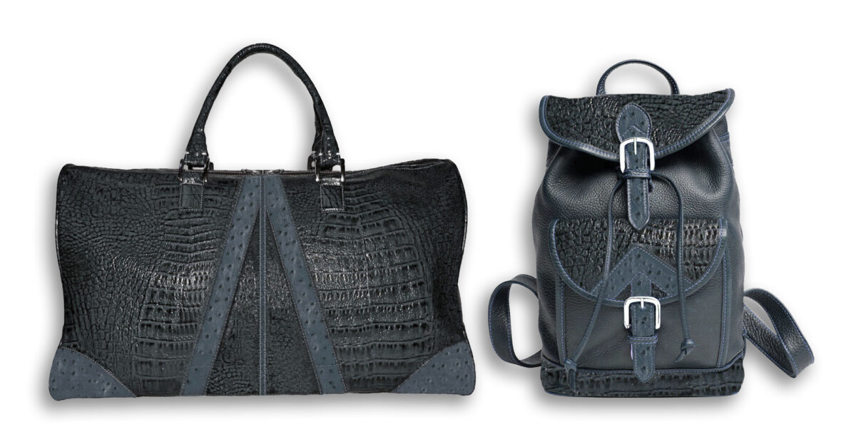 Steel Blue Embossed Italian Lamb & Ostrich Duffle and Backpack