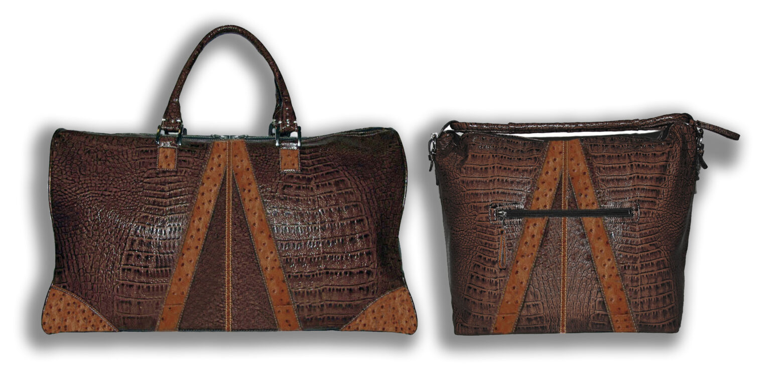 Embossed Italian Lamb & Ostrich Leather Duffle and Hand Bag