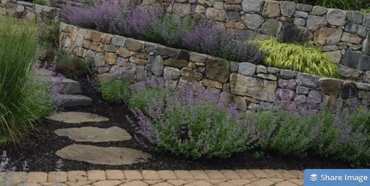 Rock wall w plantings