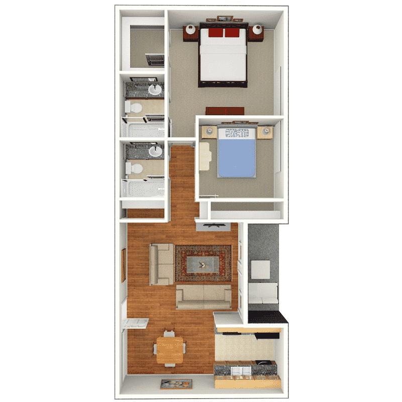 2 BED 2 BATH 980 Sq. Ft. floor plan