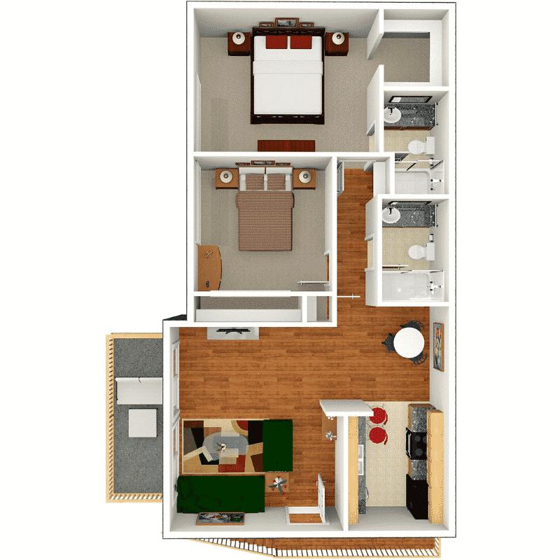 2 BED, 2 BATH 850 Sq. Ft. Floor plan